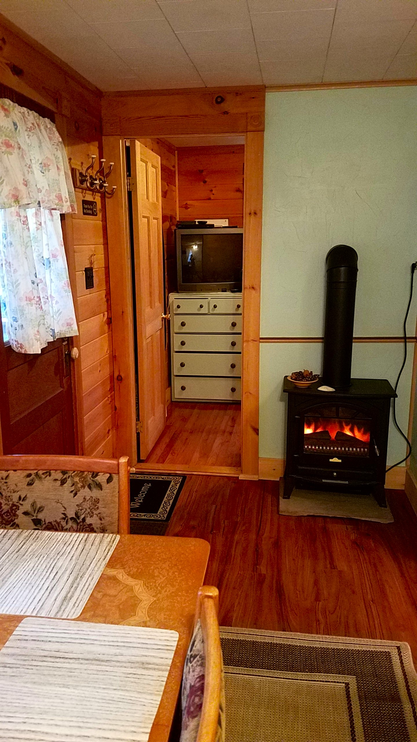 Dining area, electric wood stove